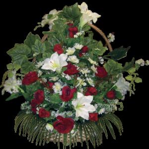 Искусственные цветы в корзине №19