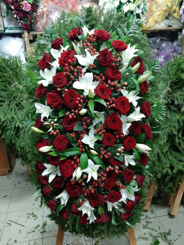 Венок из живых цветов vj - 46