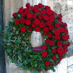 Венок из живых цветов vj - 56